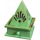 Quemador incienso cono pirámide - verde al agua
