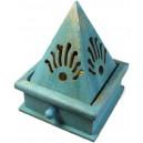 Quemador incienso cono pirámide - azul al agua